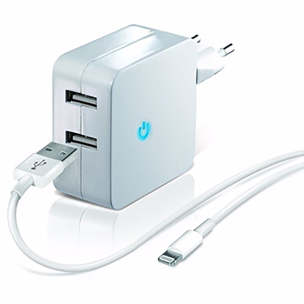 Temium USB lichtnetadapter met lightning kabel (2.1A)