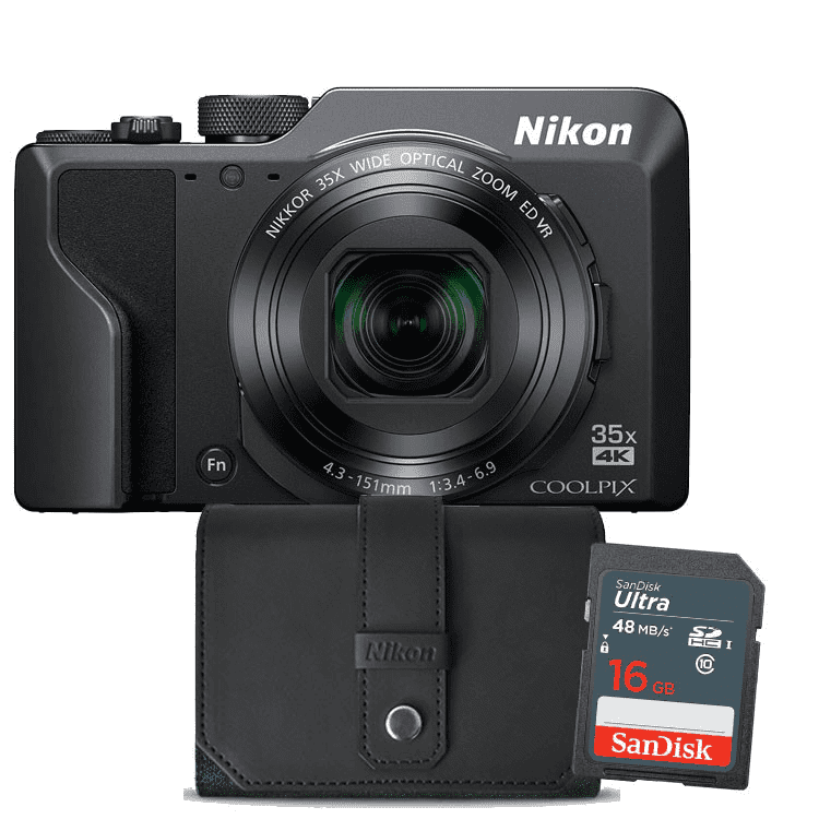 Nikon compact camera COOLPIX A1000 (zwart) Incl. Tas + 16GB