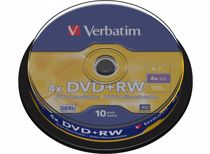 Verbatim DVD schijfjes DVD+RW 4,7GB 4X 10 stuks