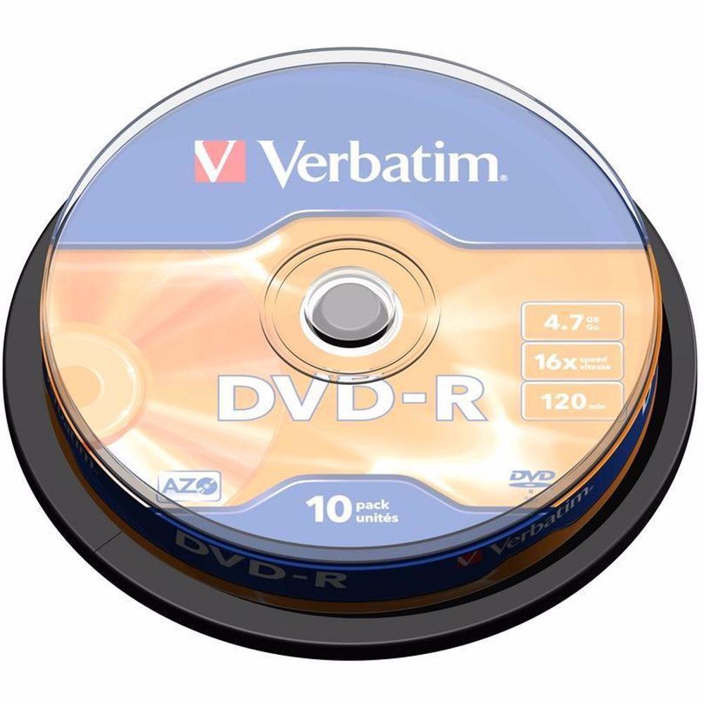 Verbatim DVD schijfjes DVD-R 4,7GB 16X 10 stuks