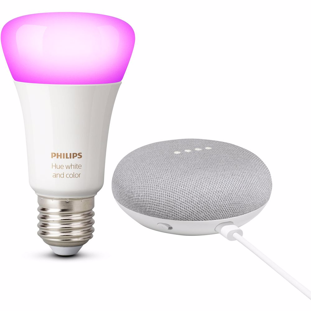 Philips Hue White and Color + Google Nest Mini (Wit)