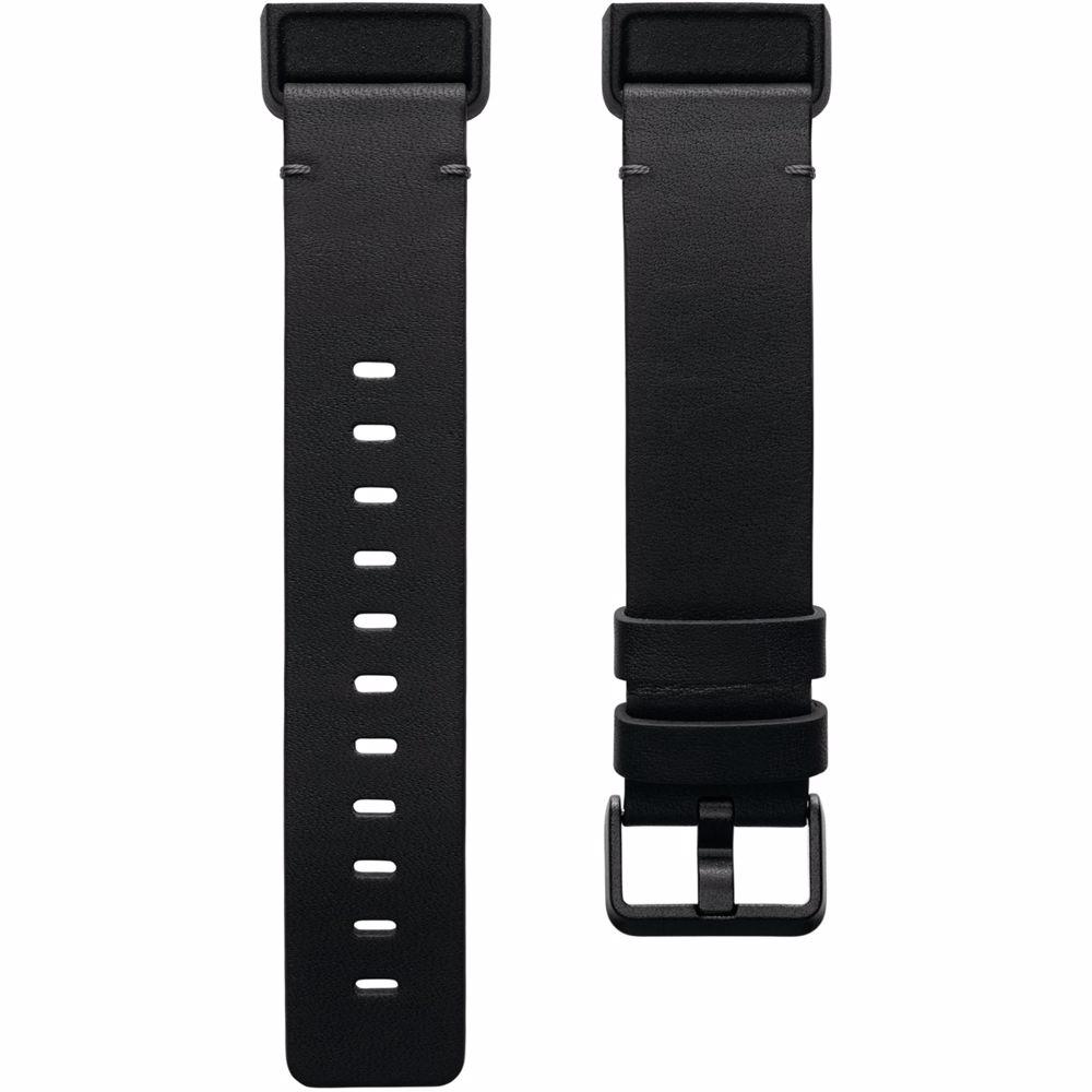 Fitbit Charge 4 leren bandje Large (Zwart)
