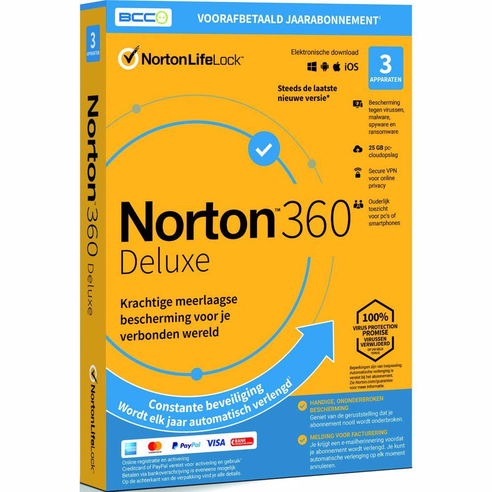 Norton antivirus 360 Deluxe 25GB - 1 jaarlicentie - 3 devices