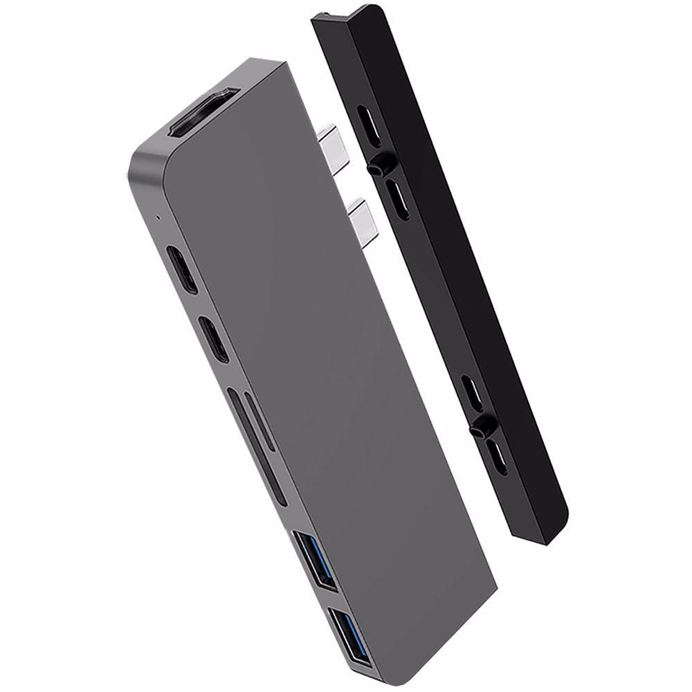 Hyper 7-in-2 USB-C duo hub HD 28C (Zilver)