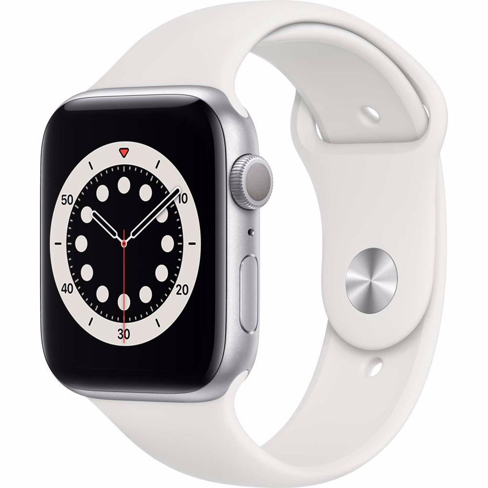 Apple Watch Series 6 GPS 44mm (Zilver) Sportband (Wit)