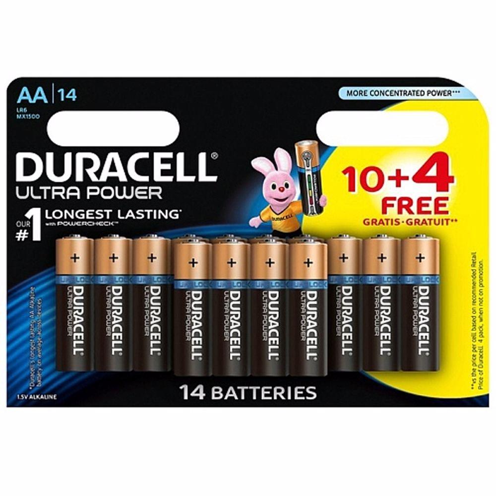 Duracell AA wegwerpbatterijen Ultra Power (10+4 stuks)