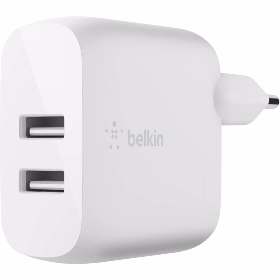 Belkin dual USB-A wandlader (Wit)