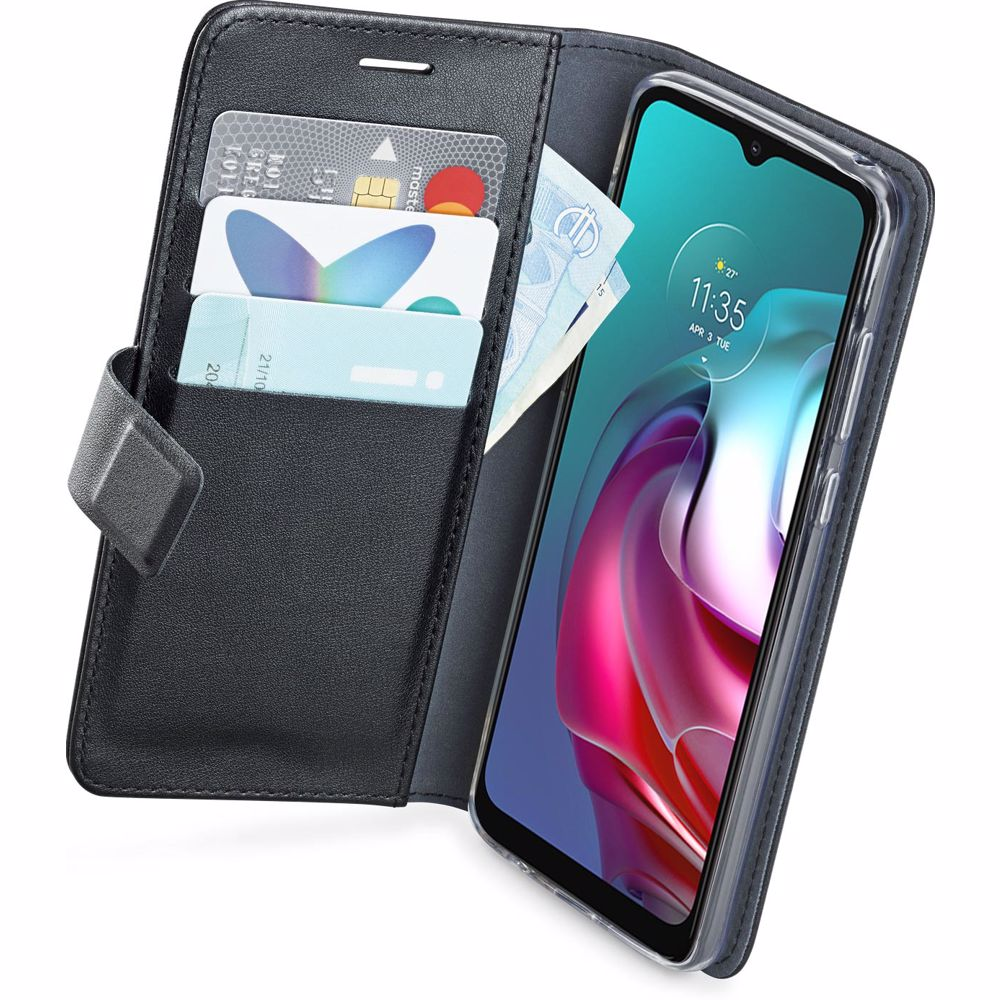 Azuri telefoonhoesje Motorola Moto G30 Wallet case (Zwart)